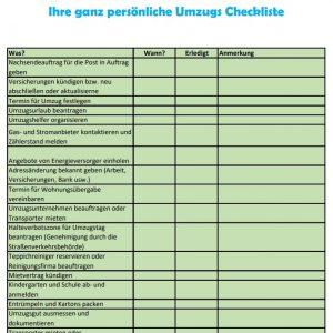 Checkliste Umzug PDF